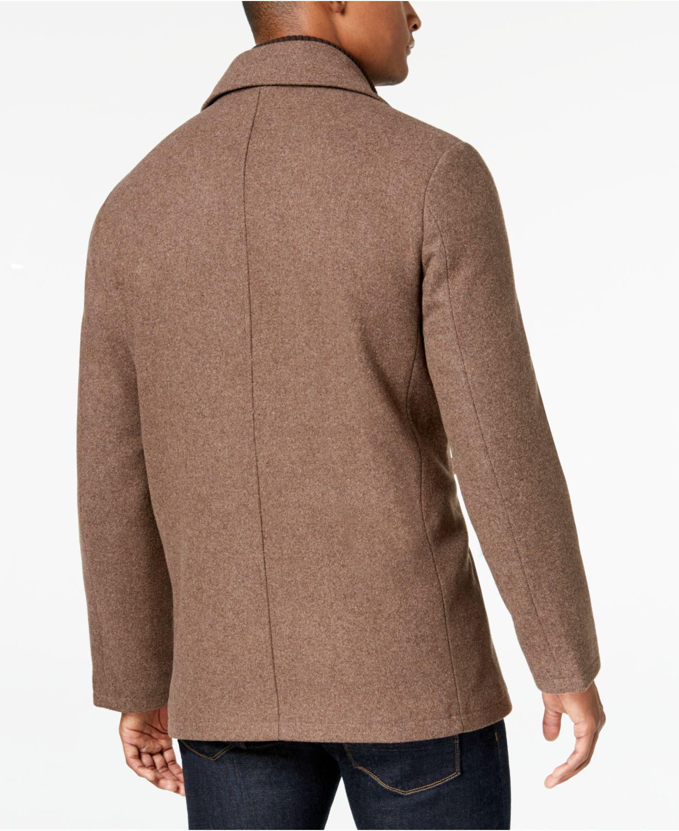 3e64e78b8e4 Lyst - Kenneth Cole Big   Tall Double Breasted Wool Peacoat With Bib in  Natural for Men