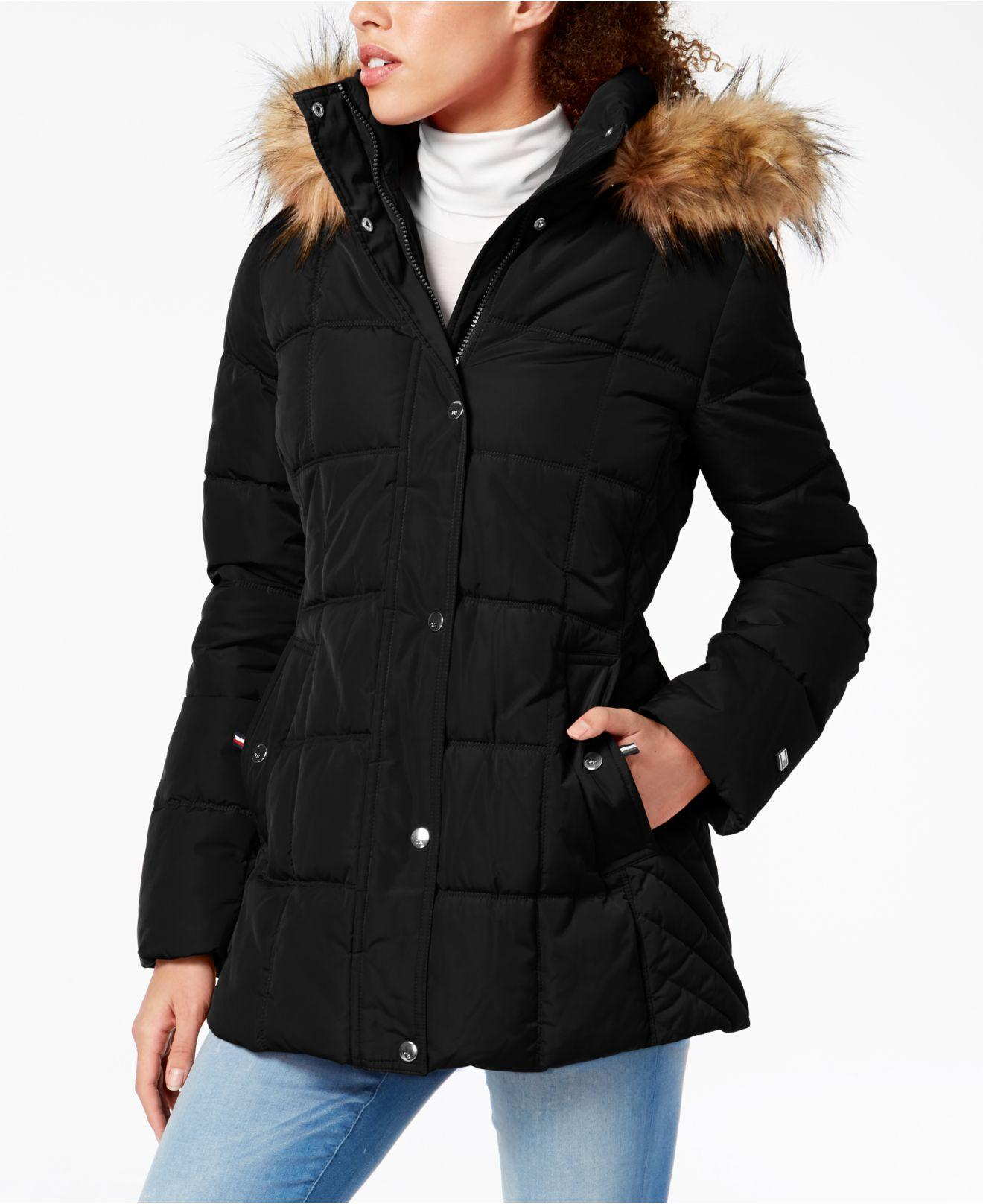 Tommy Hilfiger womens Mid Length Hooded Puffer Jacket With Faux Fur Trimmed Hood Parka