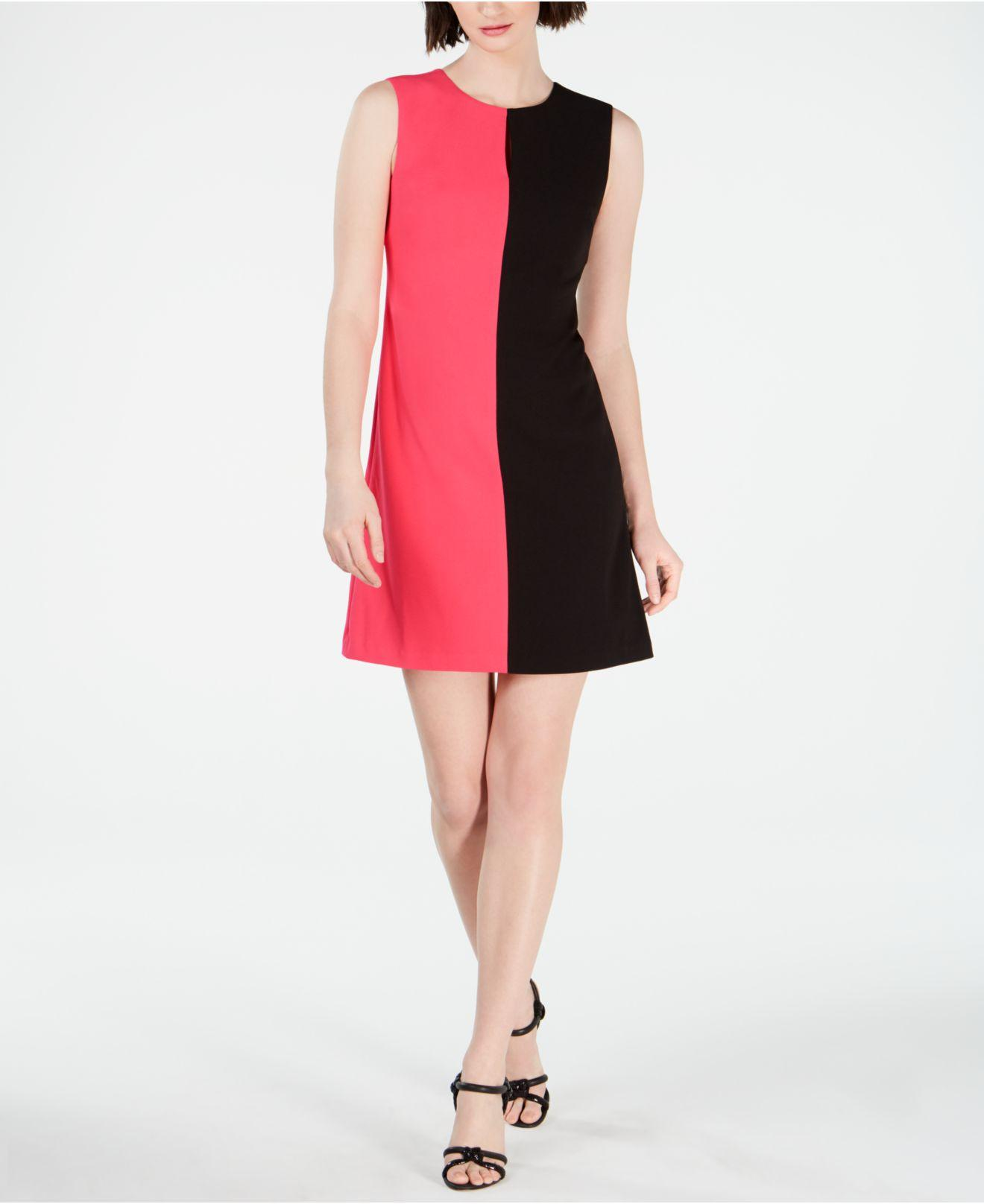 65a9624f Lyst - Calvin Klein Sleeveless Colorblock Shift Dress in Black