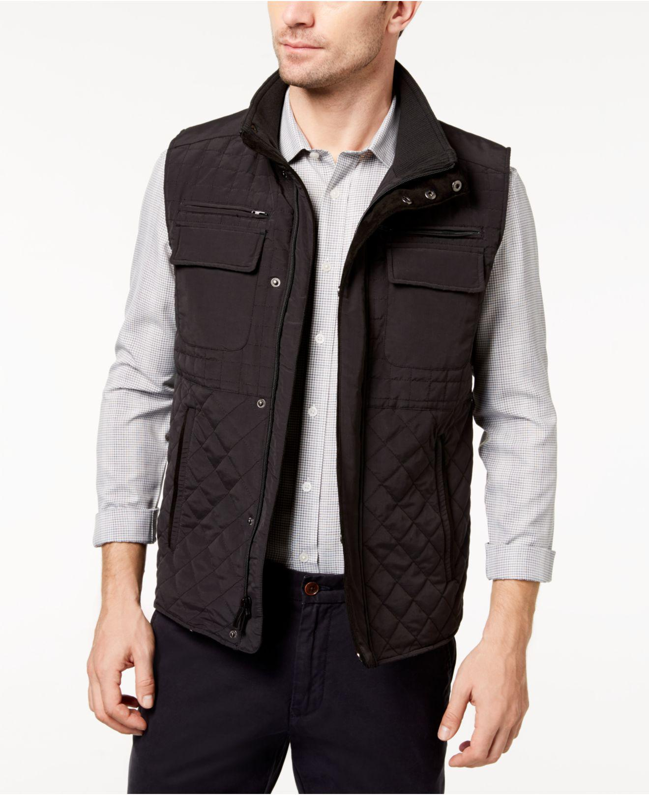 Vince Camuto Synthetic Men S Quilted Zip Front Vest In