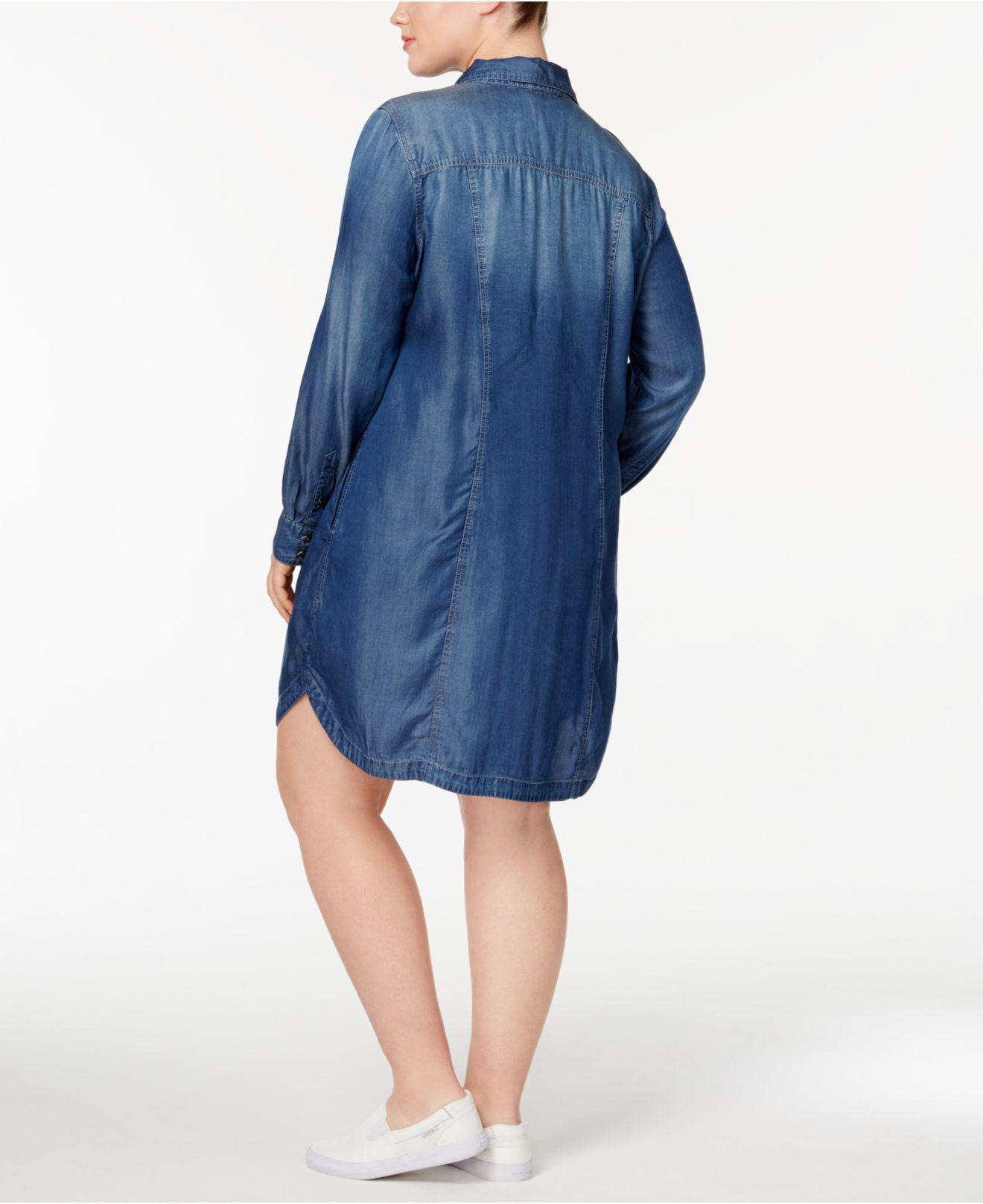 4a726a8f715 Lyst - Jessica Simpson Trendy Plus Size Cotton Denim Shirtdress in Blue