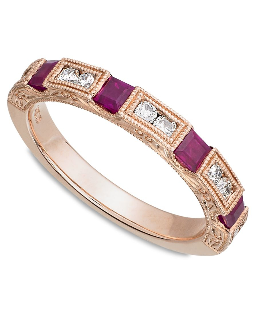 macy s 14k gold ruby 1 2 ct t w and 1 3