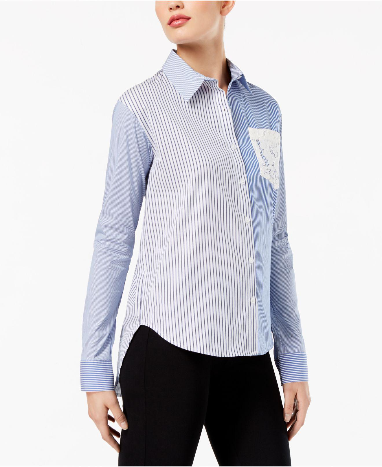 068d27259e2 DKNY Mixed-stripe Lace-pocket Shirt in Blue - Lyst