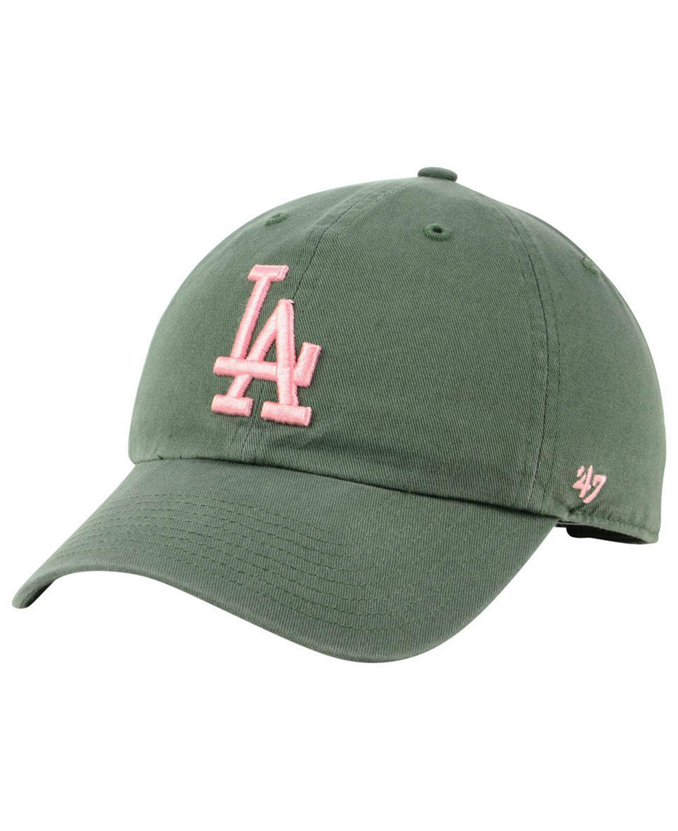 27ad1900c0e75 Lyst - 47 Brand Los Angeles Dodgers Moss Pink Clean Up Cap in Green ...