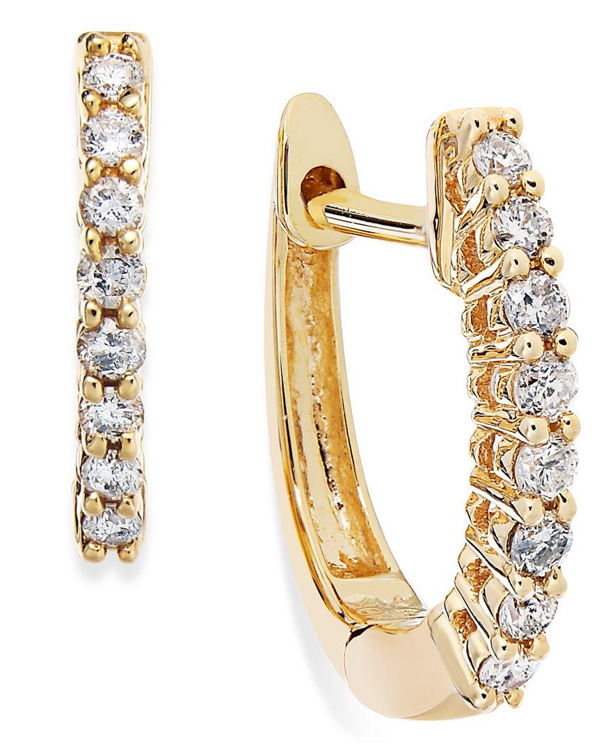 macy 39 s 10k gold diamond mini hoop earrings 1 8 ct t w