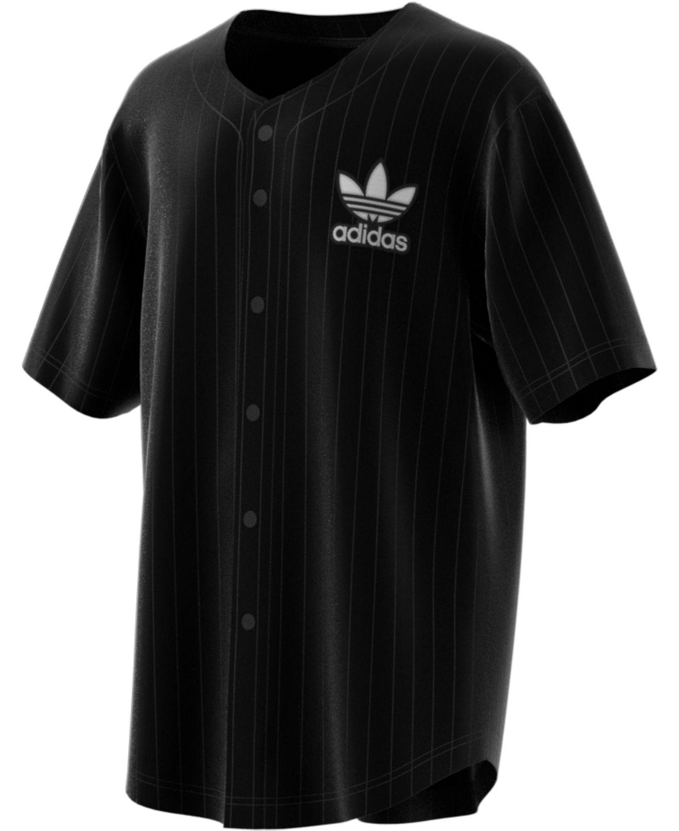 adidas Synthetic Jacquard Baseball Jersey in Black for Men - Lyst