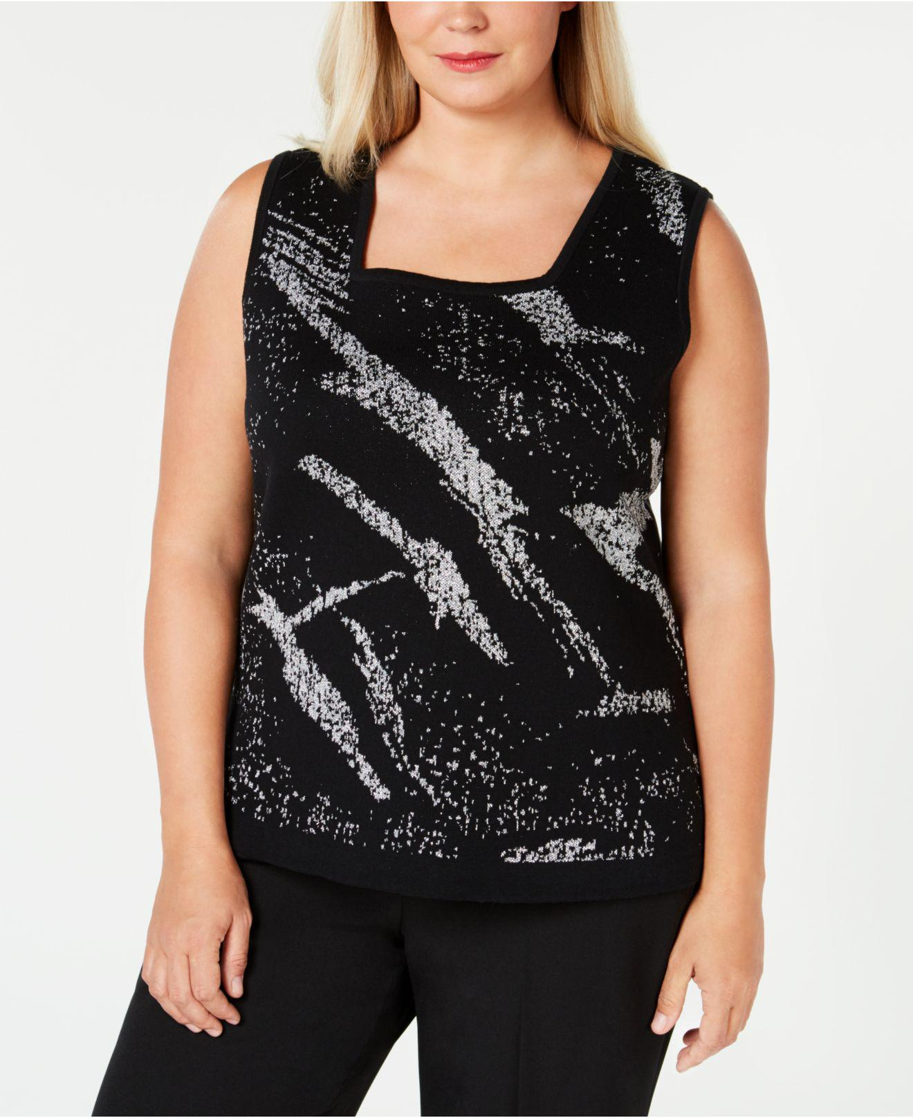 a01dc751756 Lyst - Kasper Plus Size Metallic Sweater Shell in Black