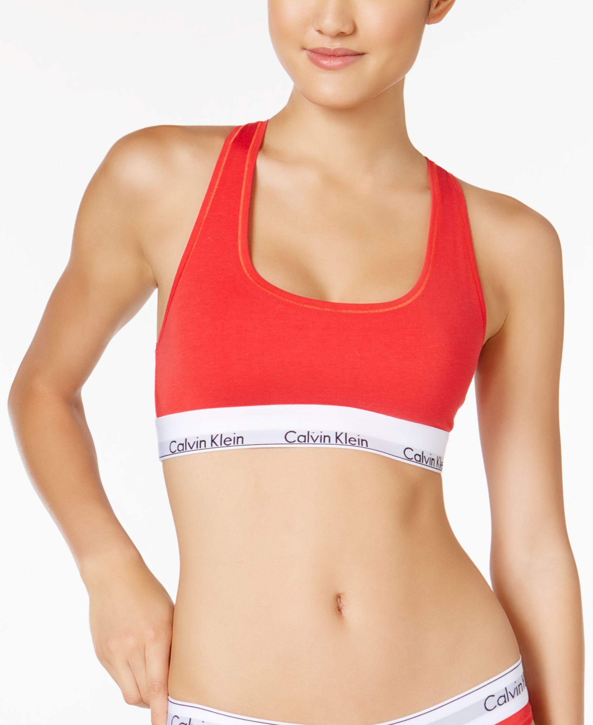0206c6f583 Lyst - Calvin Klein Modern Cotton Low-impact Logo Bralette F3785 in Red