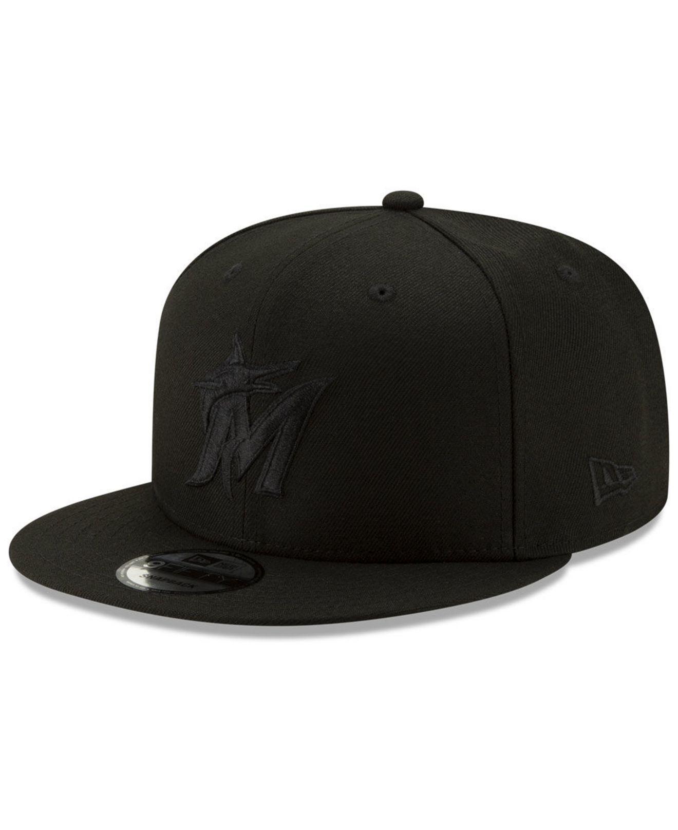 Lyst - Ktz Miami Marlins Triple Black 9fifty Snapback Cap in Black ... b7d6b088ae87