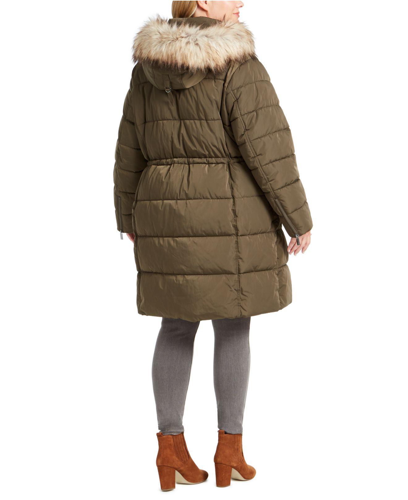 DKNY Plus Size Faux-fur Trim Hooded Anorak Puffer Coat - Lyst