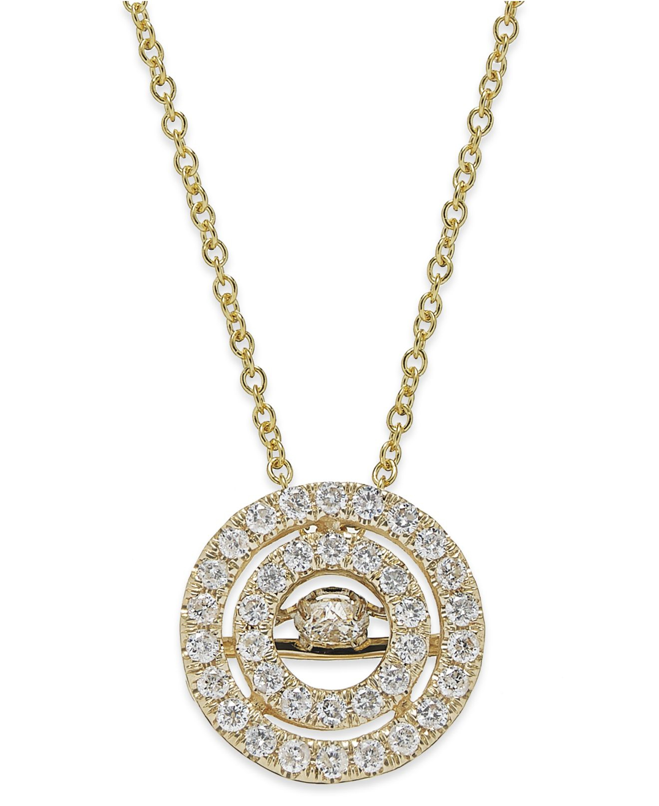 Twinkling diamond star Diamond Double Circle Pendant Necklace In