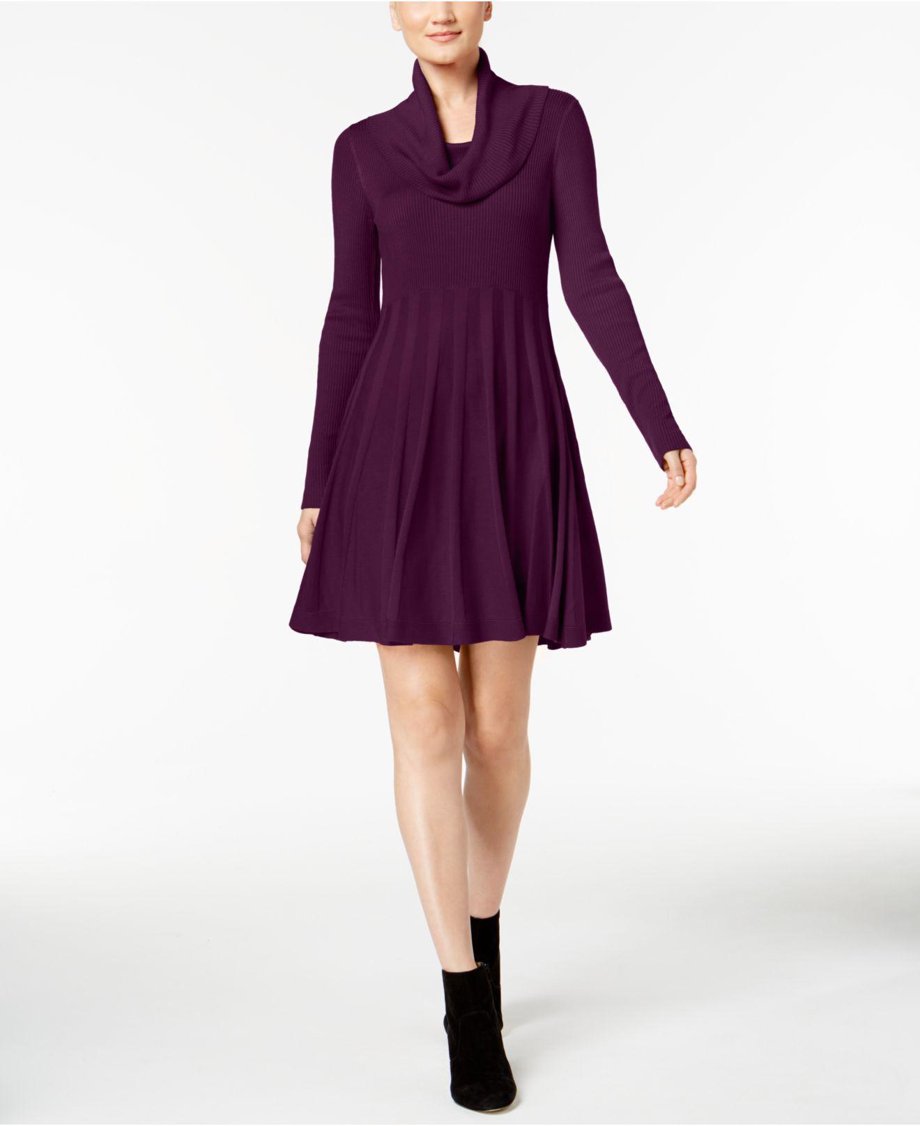 Cowl Neck Dress: CALVIN KLEIN 205W39NYC Cowl-neck Sweater Dress In Purple