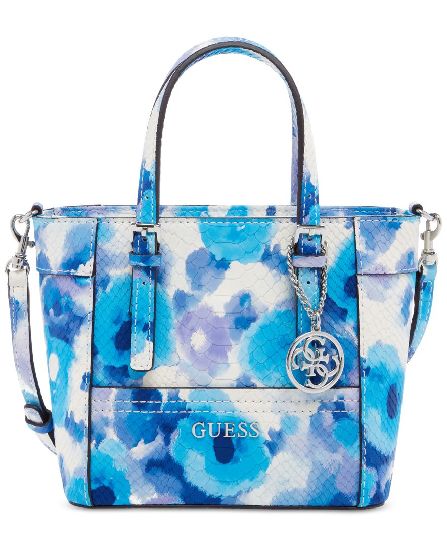 Lyst Guess Delaney Petite Tote With Crossbody Strap In Blue