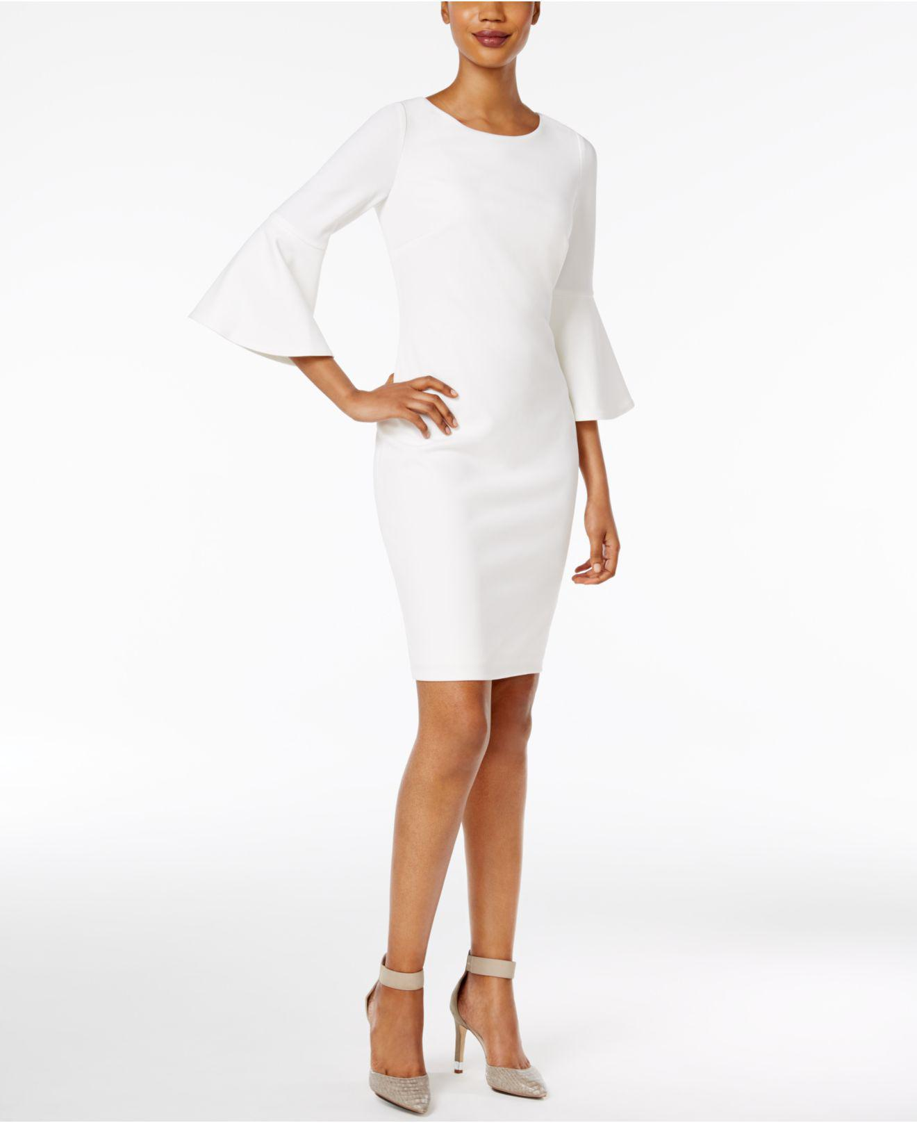 210b2b2bc5eb1 Lyst - Calvin Klein Petite Bell-sleeve Sheath Dress in White