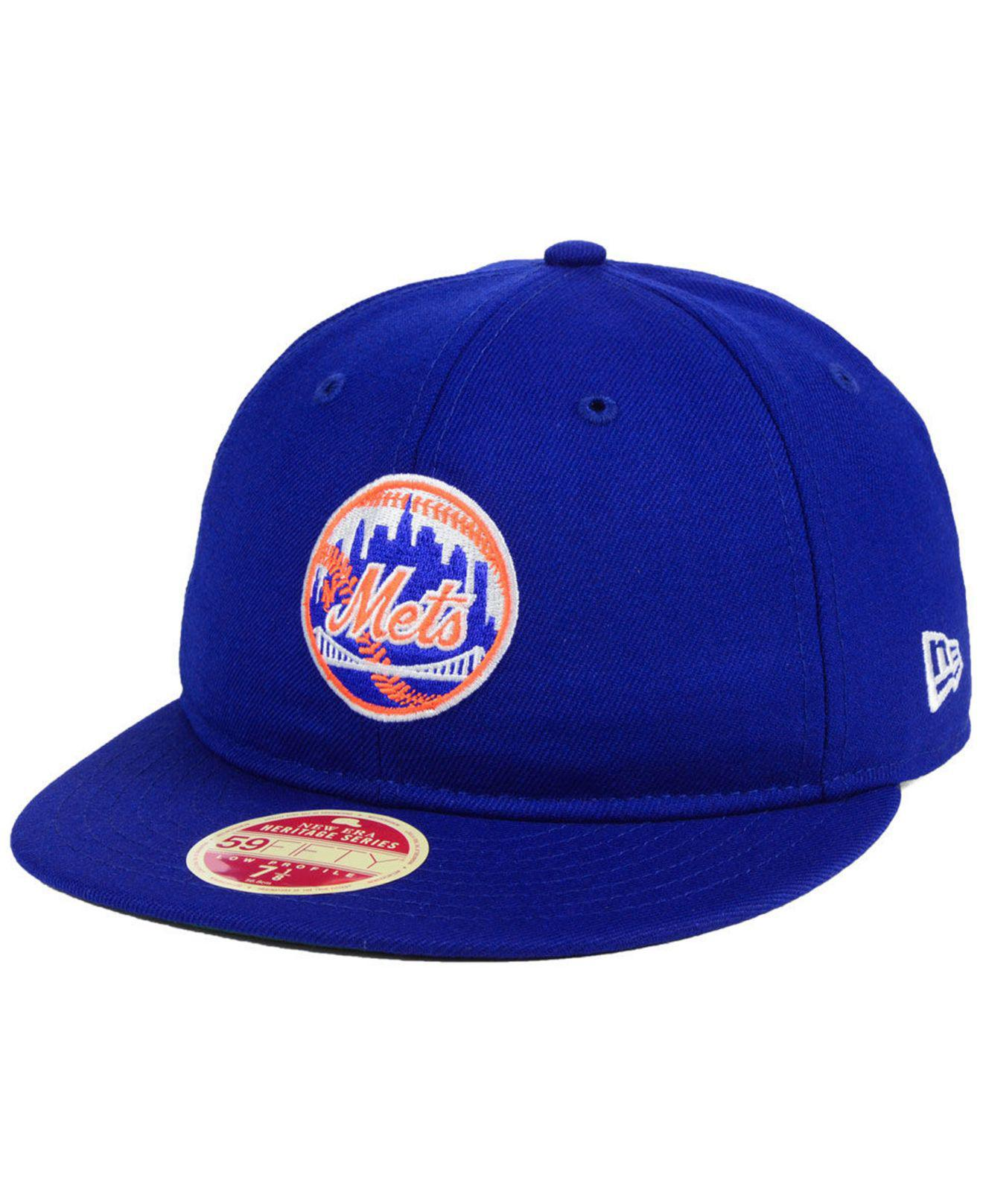 45712707f57 KTZ. Men s Blue New York Mets Heritage Retro Classic 59fifty Fitted Cap