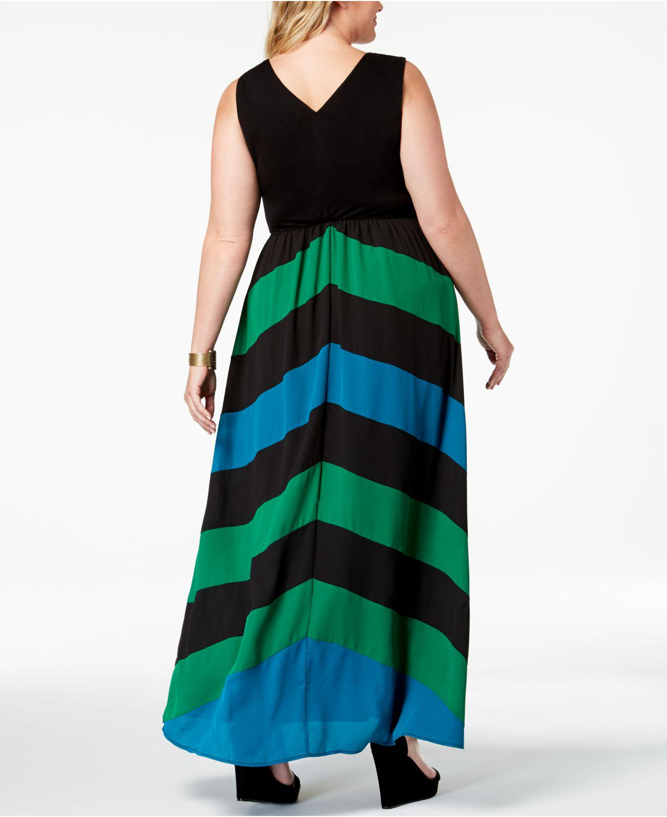 I.n.c. Plus Size Chevron Maxi Dress, Created For Macy\'s