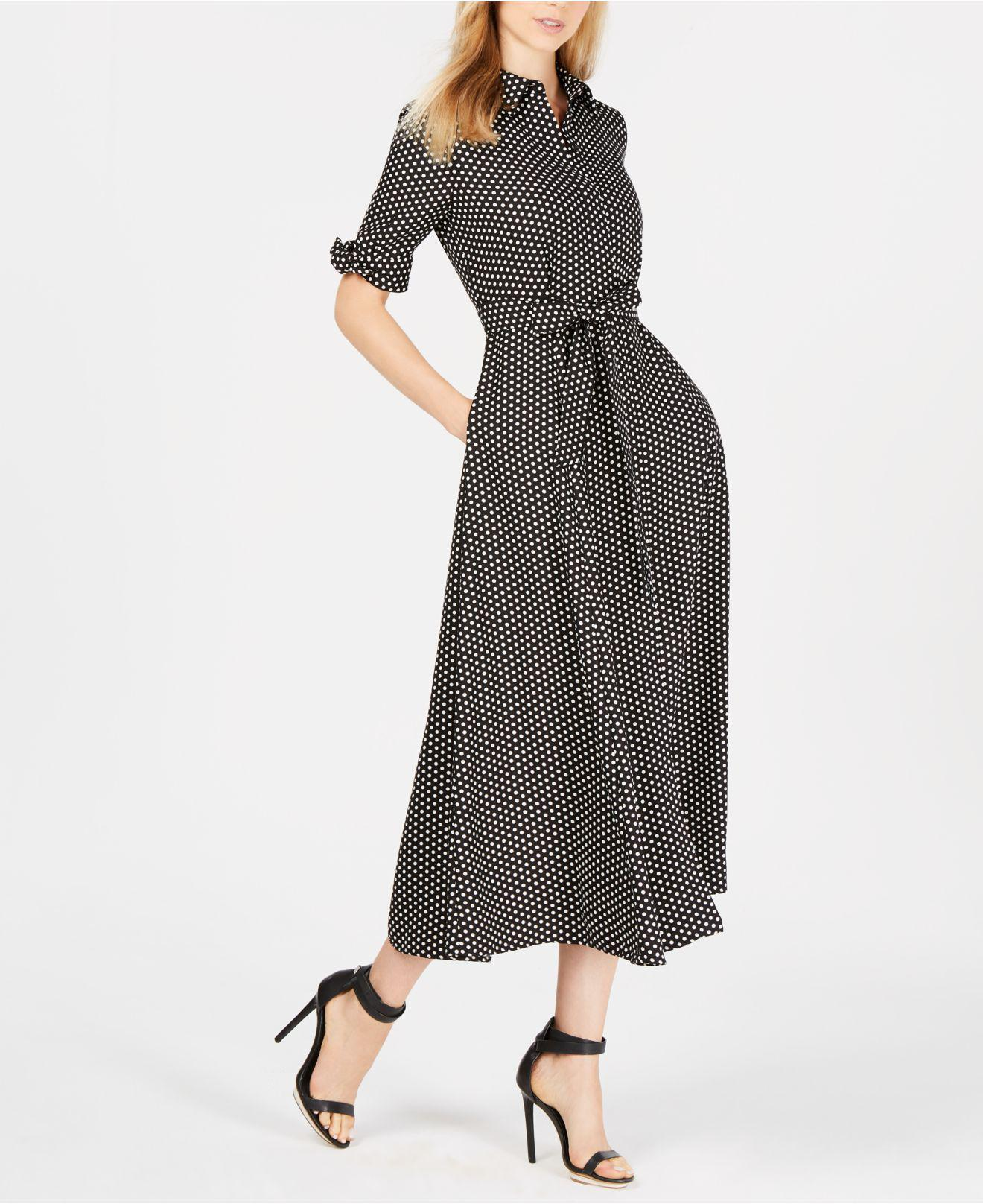 b13388adb8d Calvin Klein Polka Dot Belted Maxi Shirtdress in Black - Lyst