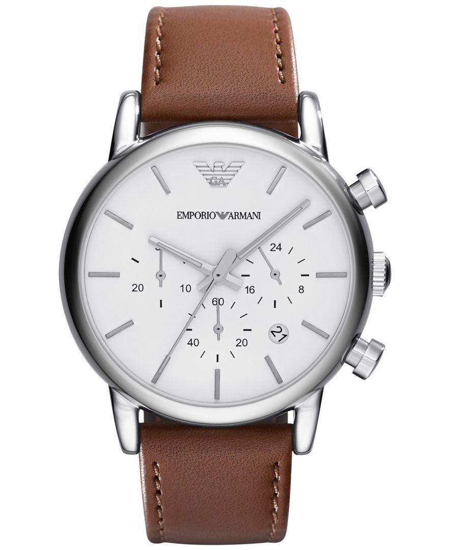 emporio armani s chronograph brown leather