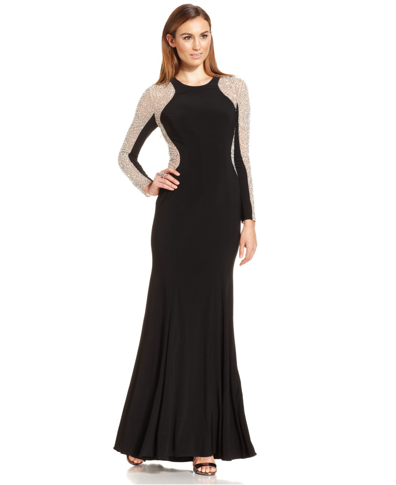 Lyst Xscape Long Sleeve Studded Colorblock Gown In Metallic