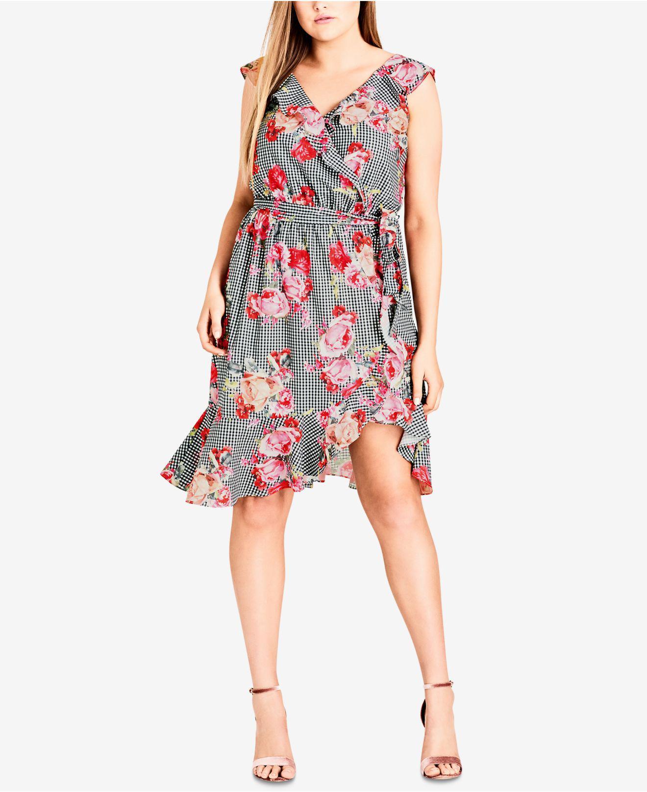 3ff4992681d41 City Chic. Women s Trendy Plus Size Ruffle-trim Faux-wrap Dress