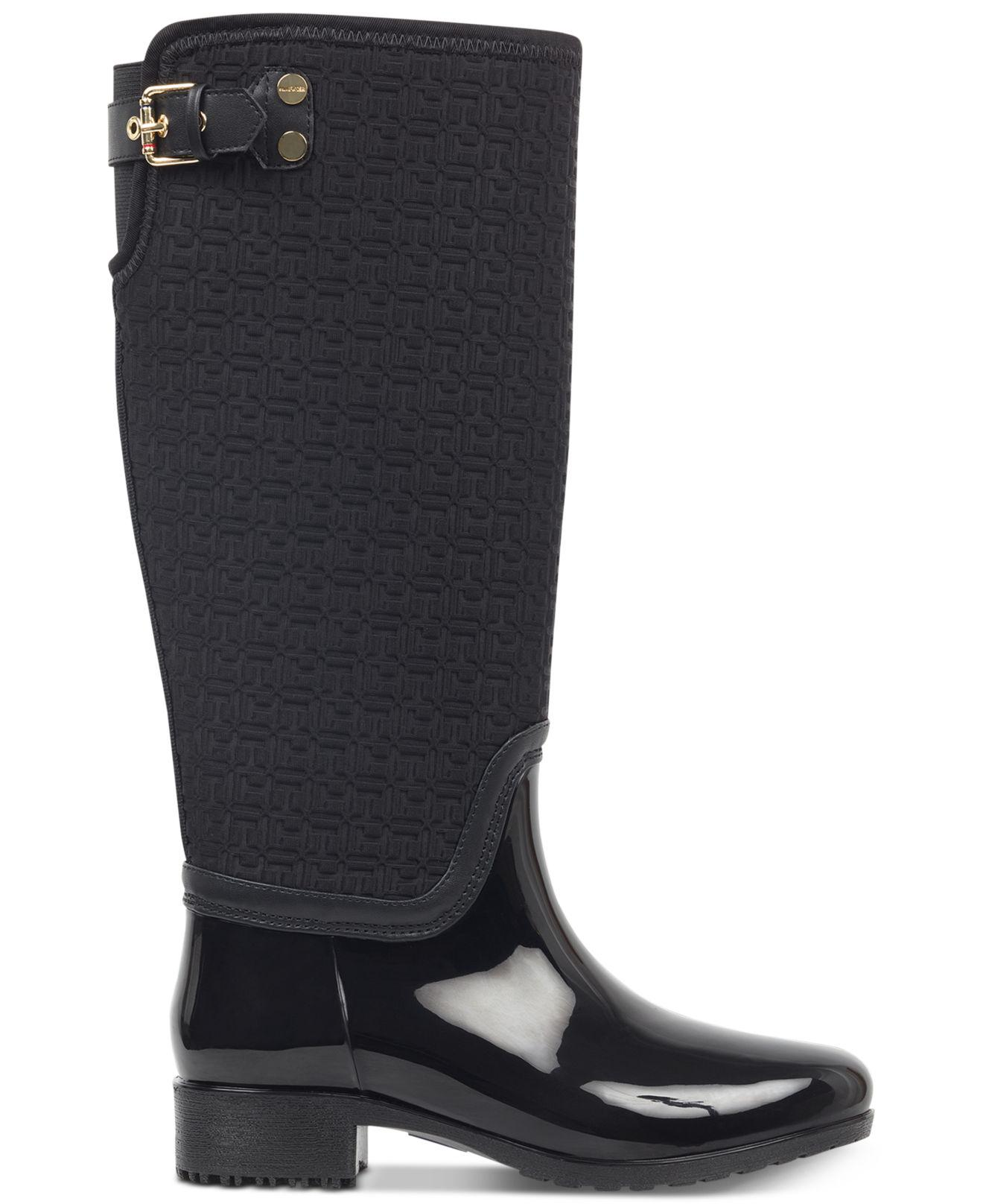 Tommy Hilfiger Rubber Fhibe Rain Boots In Black - Lyst-7253