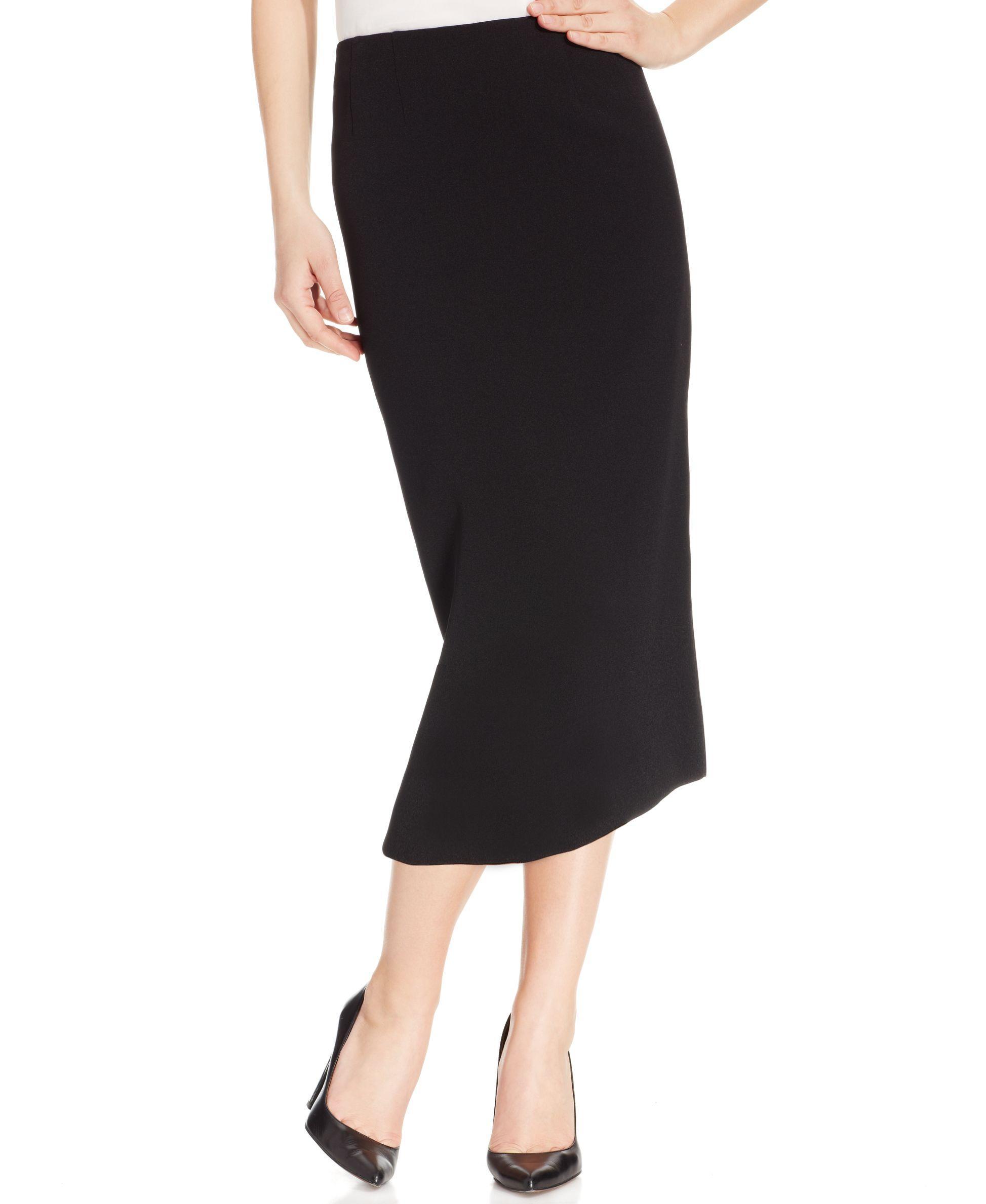 kasper crepe pencil midi skirt in black lyst