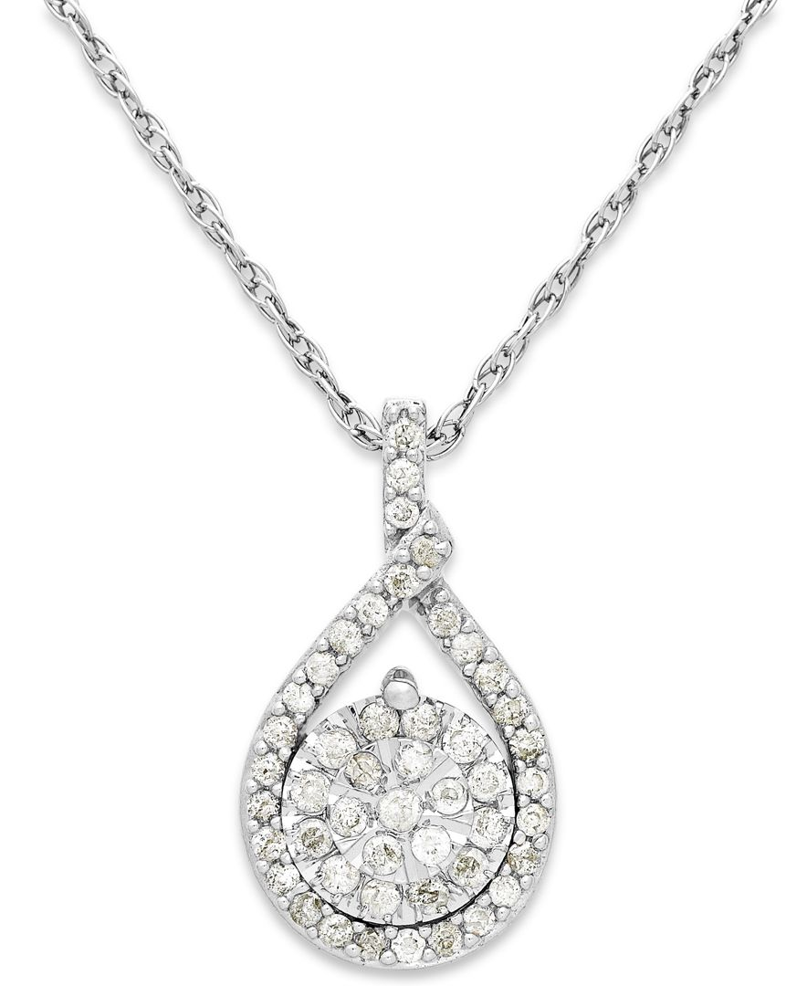 Compare Prices On 1ct Diamond Pendant Online Shopping Buy: Macy's Diamond Cluster Pendant Necklace In Sterling Silver