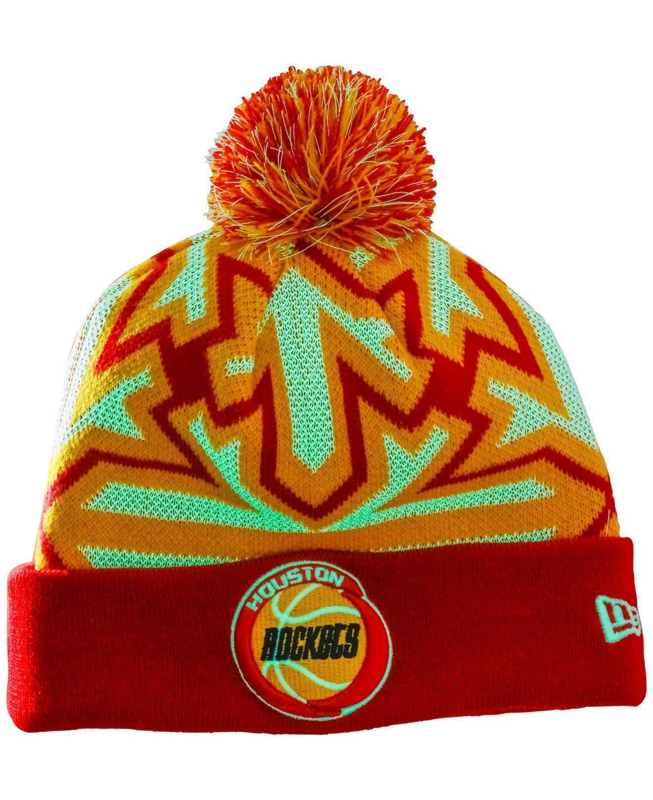 2ecfb9ccd59417 Lyst - KTZ Houston Rockets Glowflake Pom Knit Hat in Red for Men