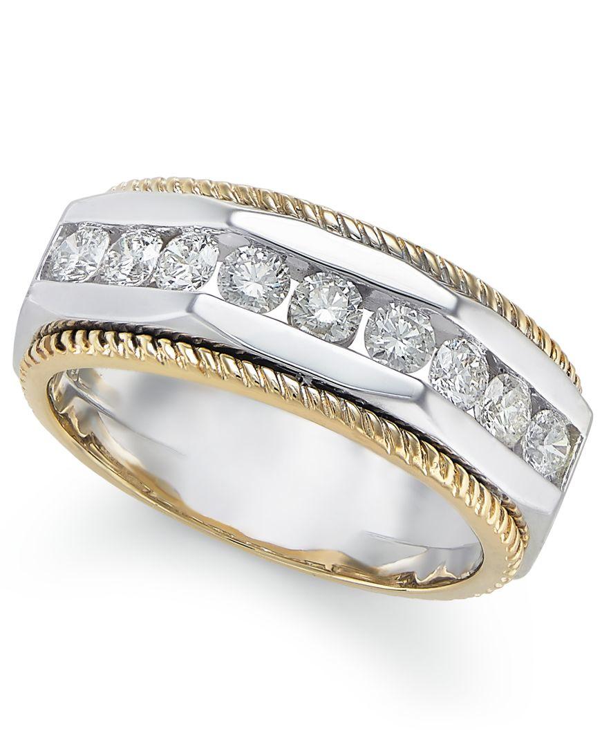 Macys Mens Wedding Rings: Macy'S Certified Men's Diamond Two-tone Ring (1 Ct