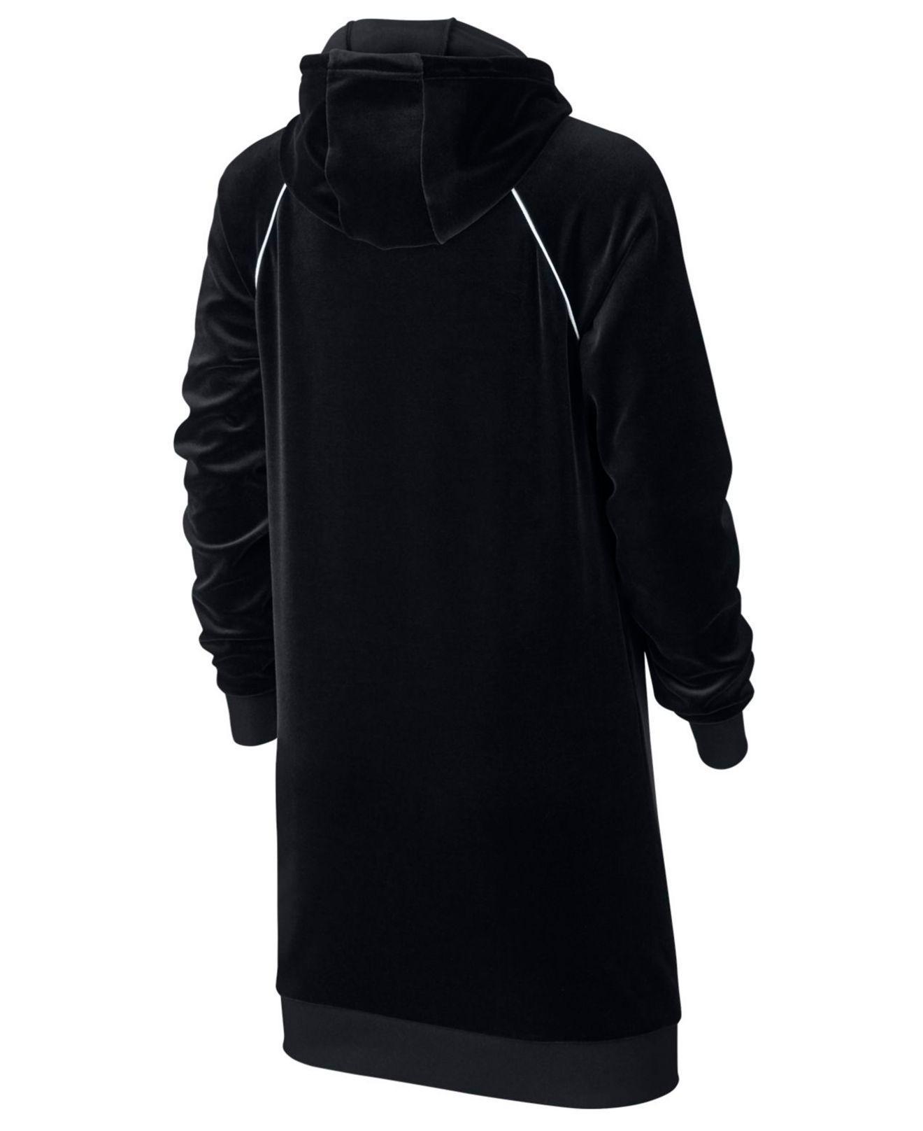 Nike Velour Hooded Dress in Black