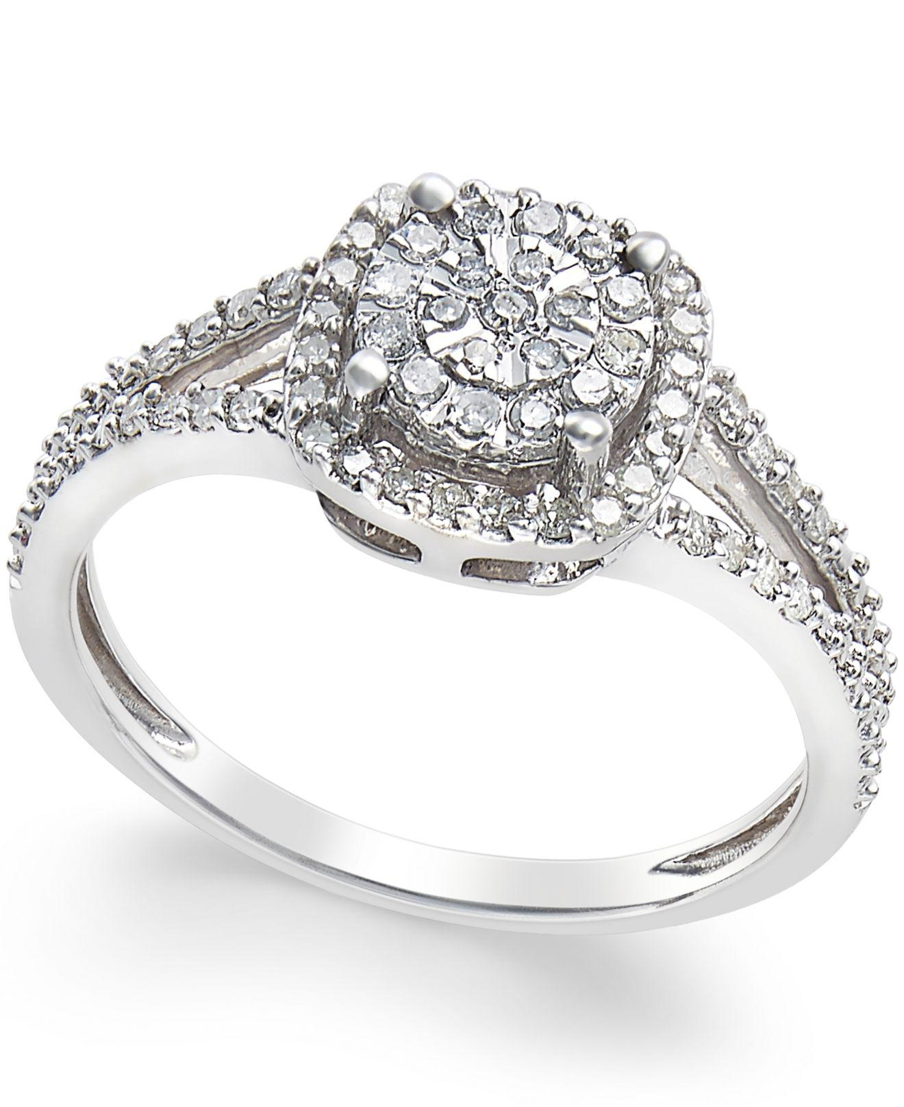 Macy's Cushion-cut Diamond Promise Ring (1/4 Ct. T.w.) In