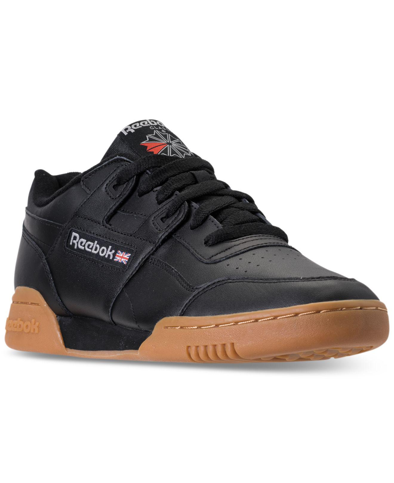 Reebok - Black Men s Workout Plus Leather Low-top Sneakers for Men - Lyst.  View fullscreen 00a9cd97b