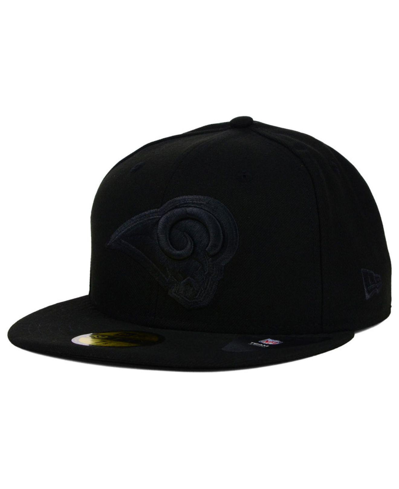 ... nfl in black czech lyst ktz los angeles rams black on black 59fifty cap  in black for men 0d4b2 ... 47baa259d5ea