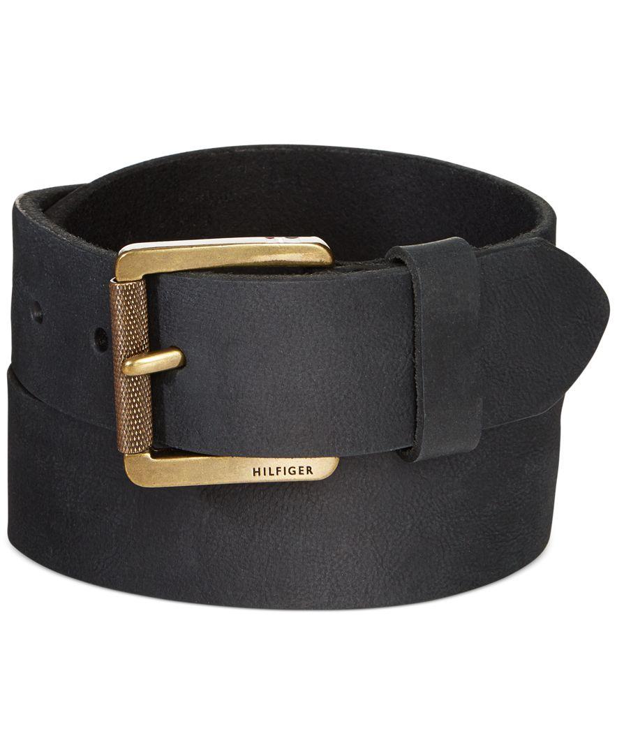 Tommy Hilfiger Black Belt With Roller Buckle In Black For