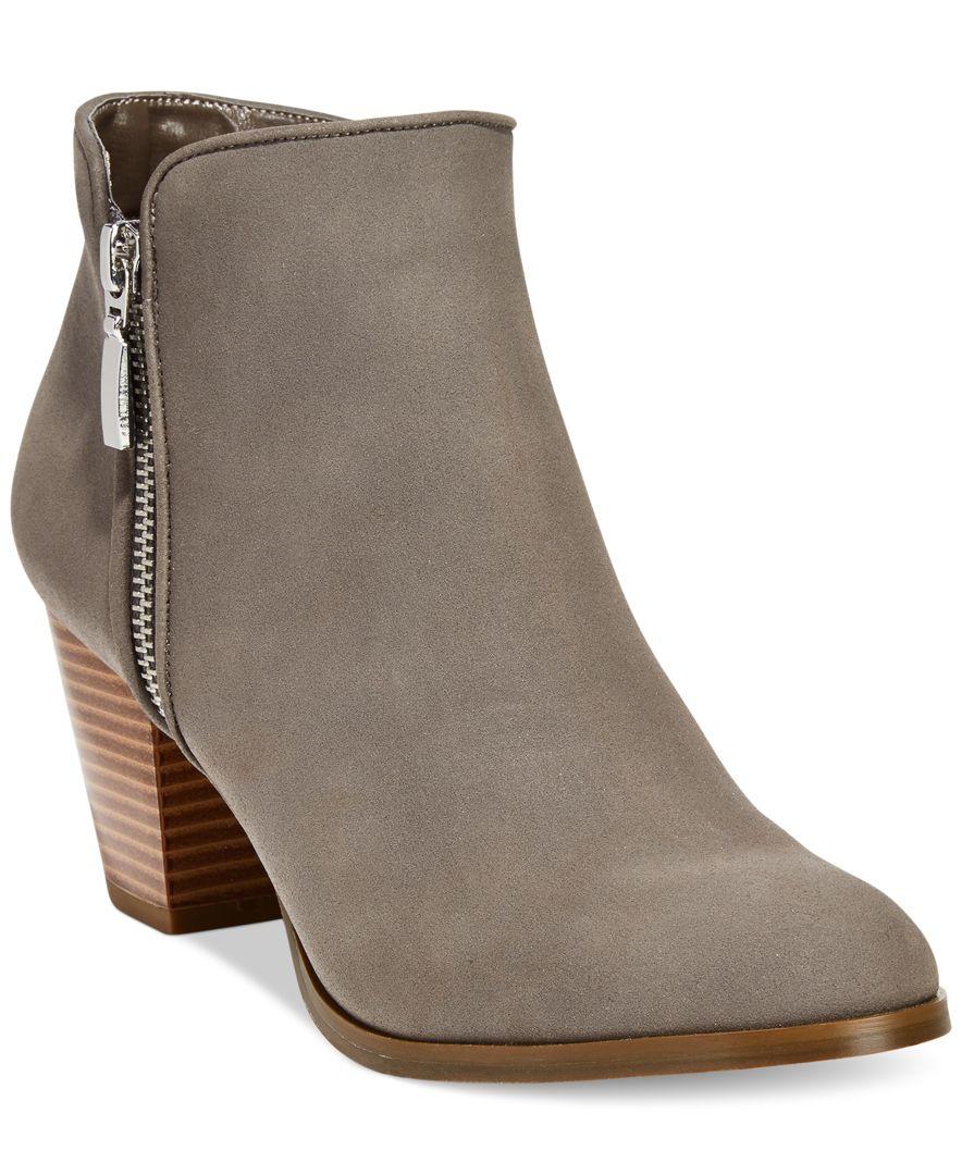 Style Amp Co Jamila Zip Booties In Gray Lyst