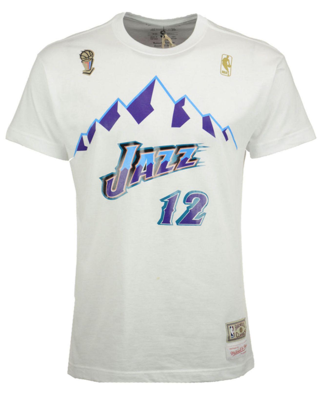 san francisco da663 e748d Men's White John Stockton Utah Jazz Hardwood Classic Player T-shirt