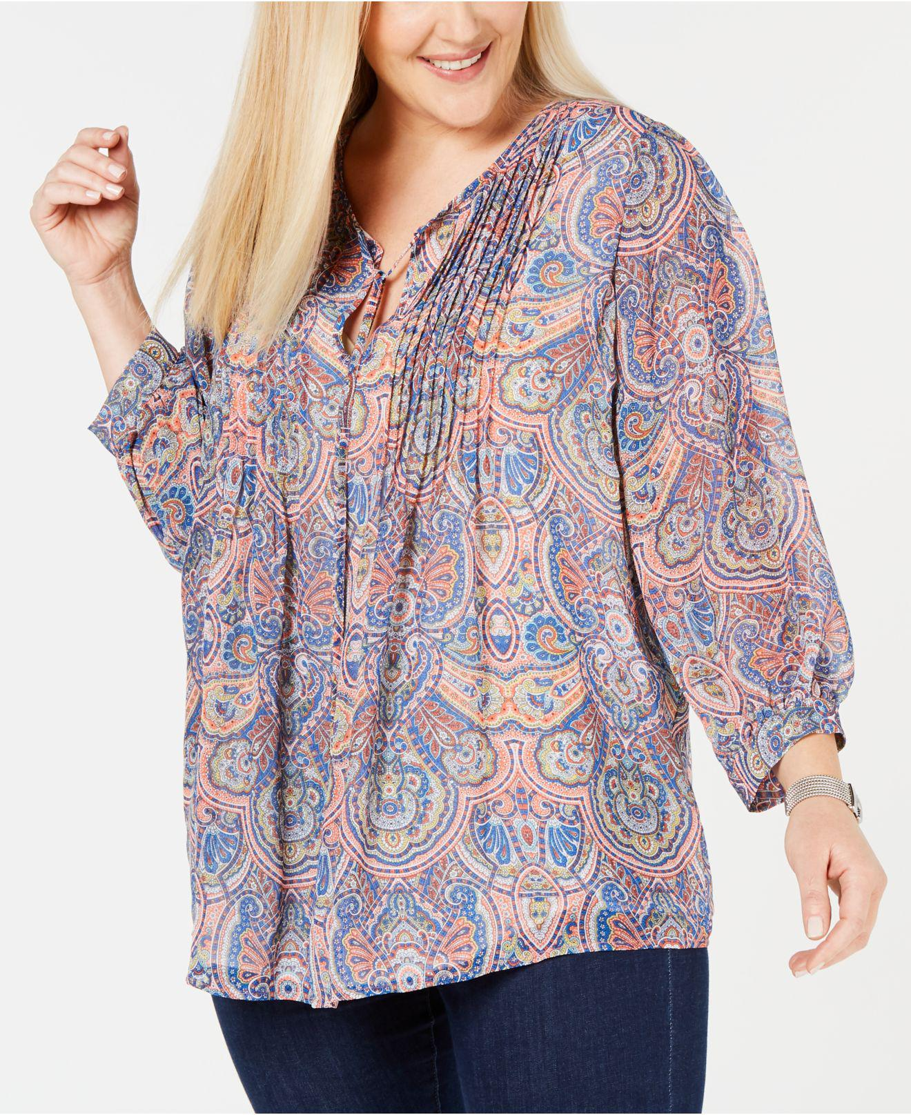 c8d451124dceb8 Tommy Hilfiger. Women s Plus Size Paisley-print Pintucked Top ...