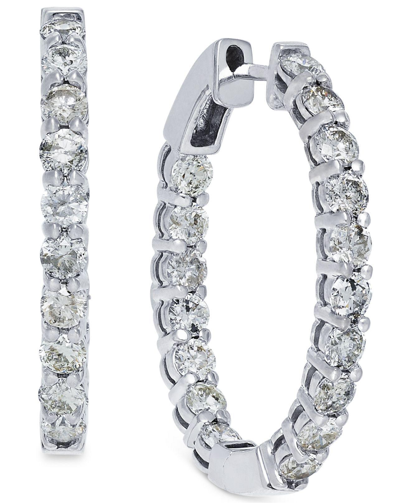 Macy S Women Metallic Diamond Hoop Earrings