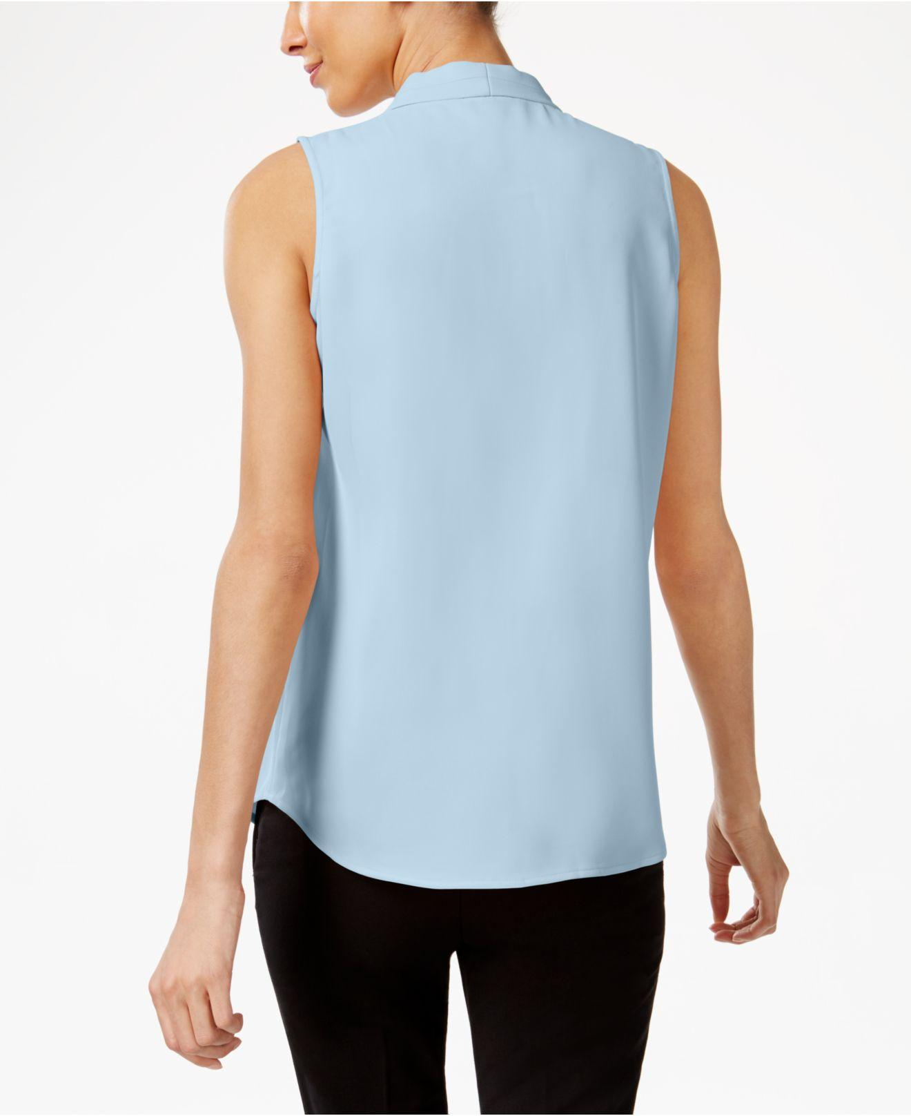 e820d7df1a4f6b Lyst - Calvin Klein Pleated V-neck Shell in Blue