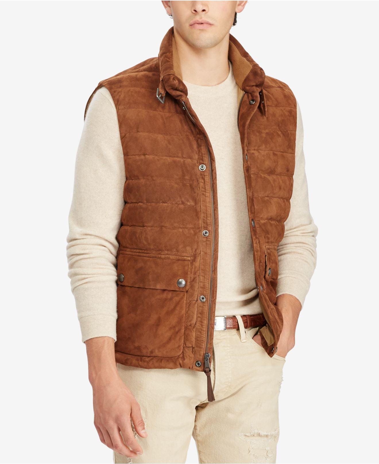 $185 NWT Mens Polo Ralph Lauren Down Quilted Packable Full Zip Puffer Vest Brown