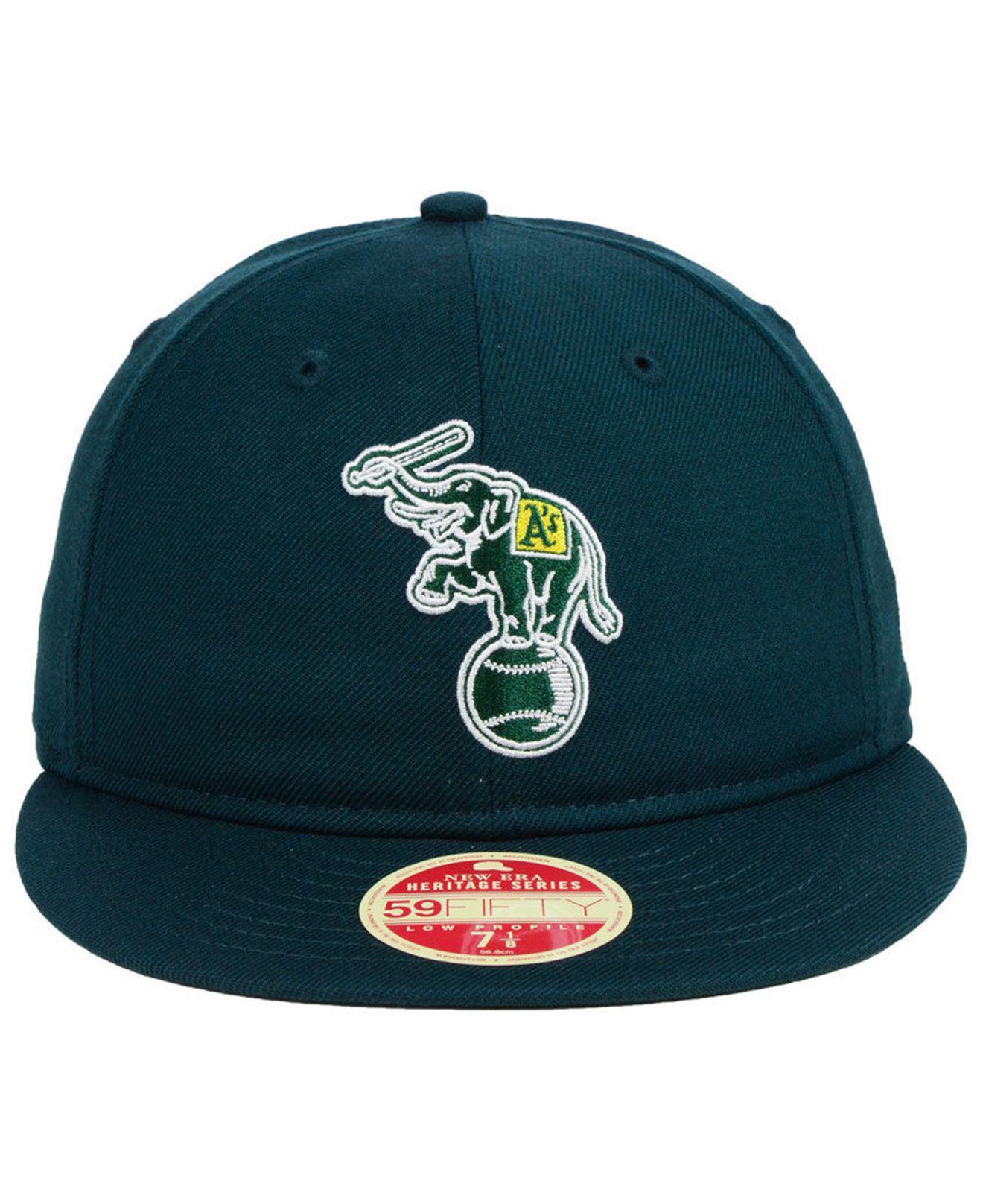 2e667e448 KTZ Green Oakland Athletics Heritage Retro Classic 59fifty Fitted Cap for  men