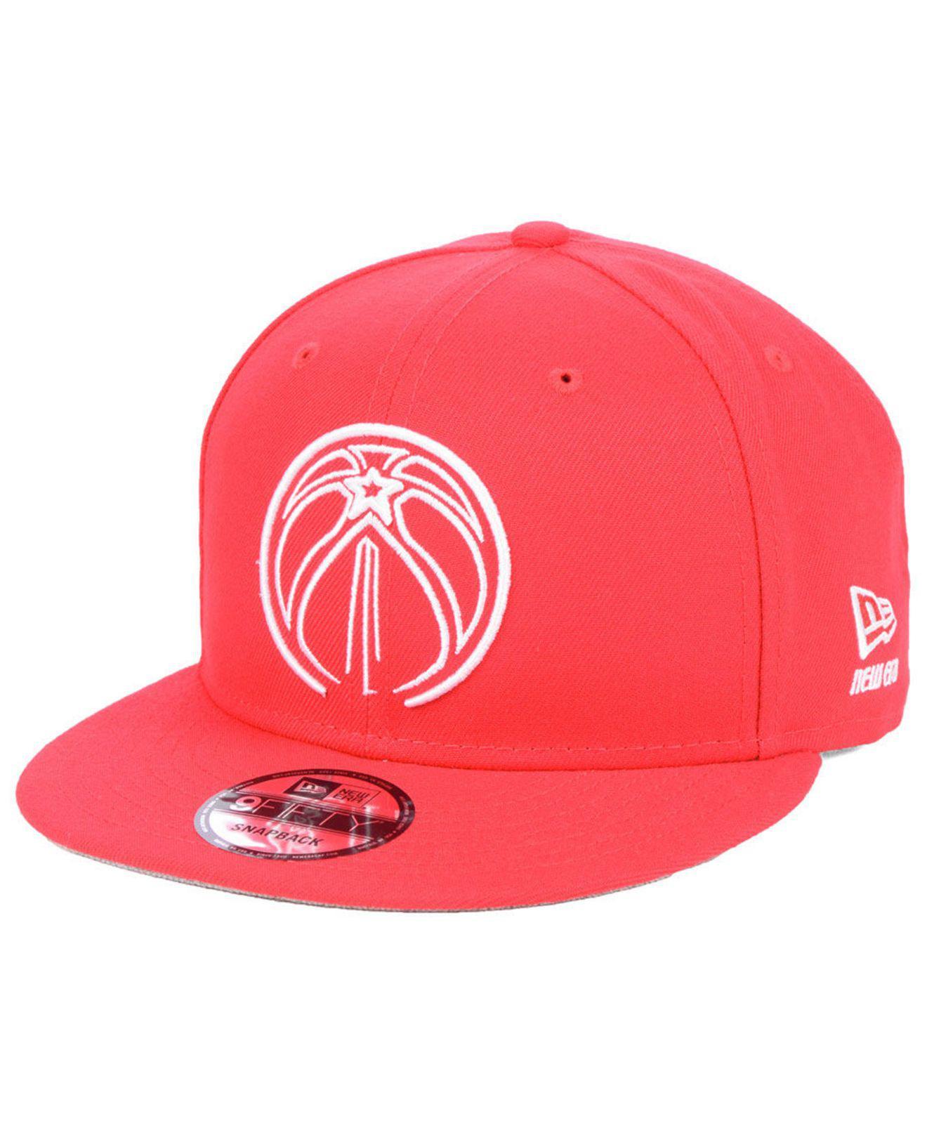 separation shoes e402f 6cd67 KTZ. Men s Red Washington Wizards Logo Trace 9fifty Snapback Cap