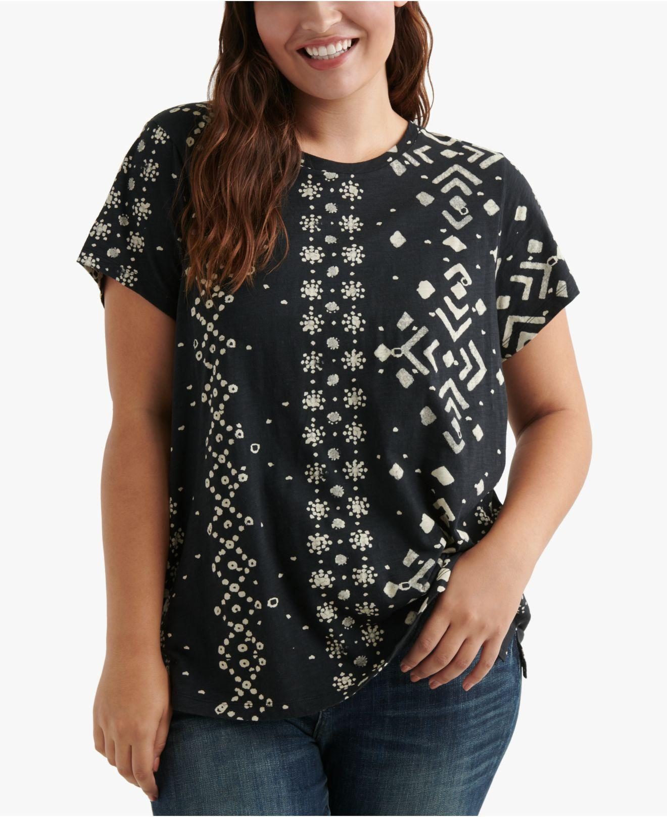 41d50433c50 Lyst - Lucky Brand Plus Size Geo-print Short-sleeve T-shirt in Black