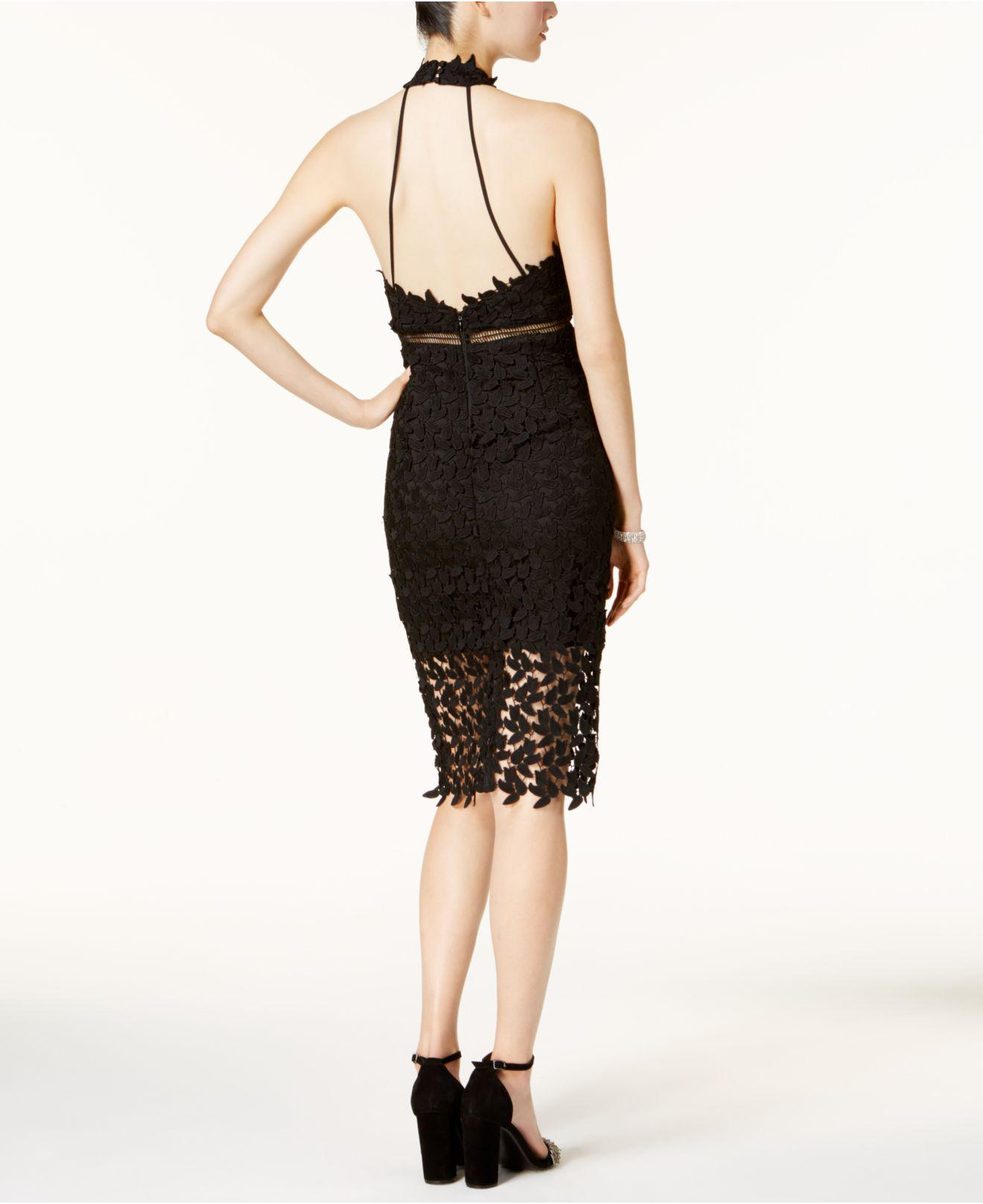 Gemma Lace Illusion Halter Dress