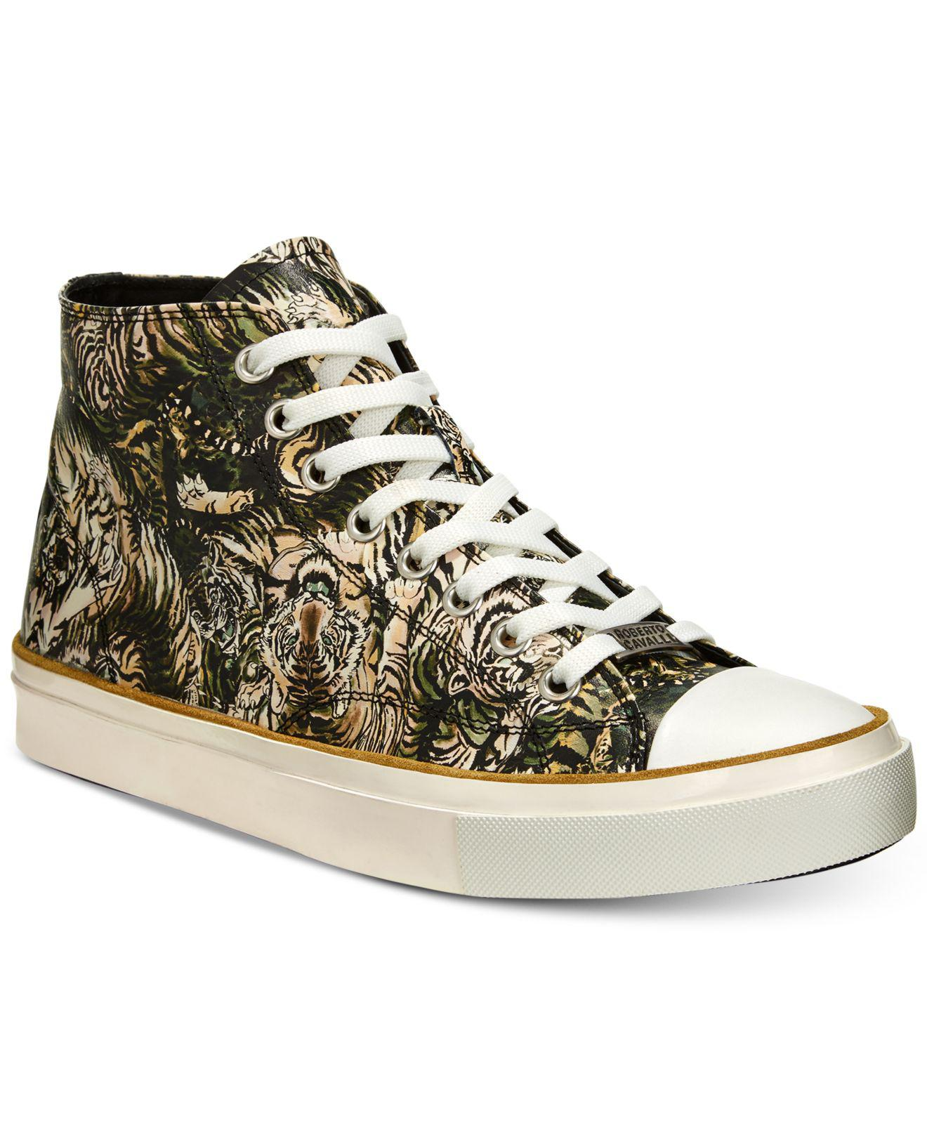 6a19dc4faca Roberto Cavalli Multicolor Mike Tiger-print High-top Sneakers for men