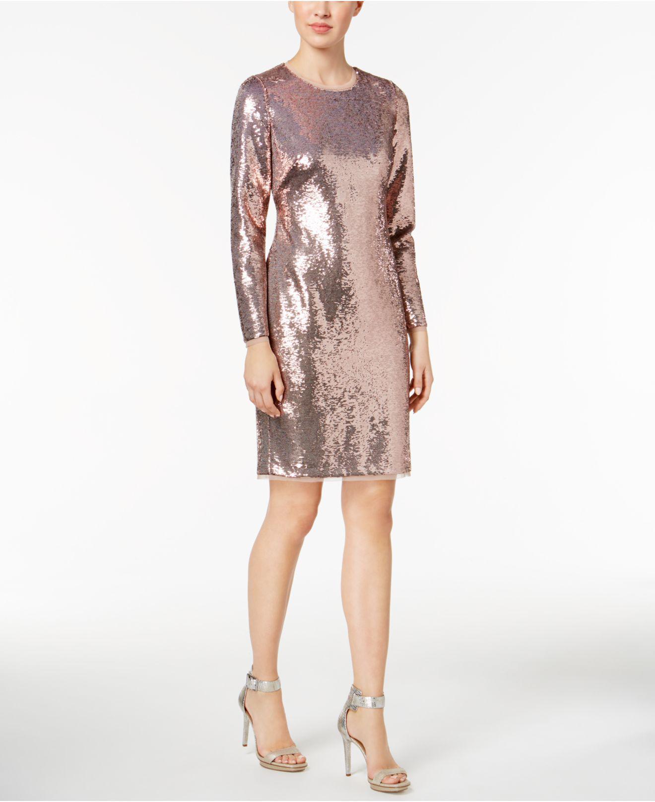 Long Sleeve Sequined Sheath Dress