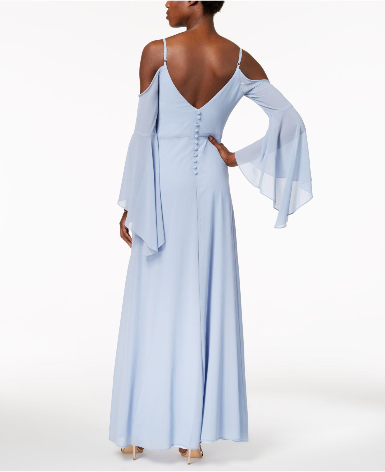 Lyst - Betsy & Adam Cold-shoulder Angel-sleeve Gown in Blue