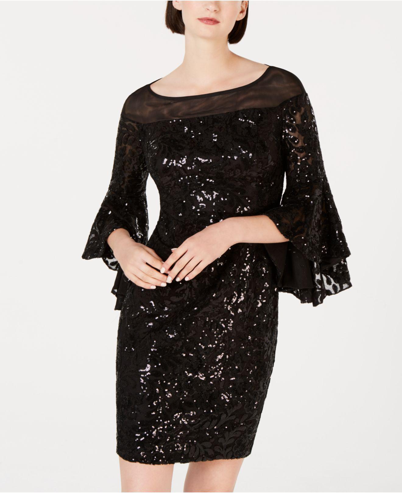 Sequin Bell Sleeve Sheath Dress