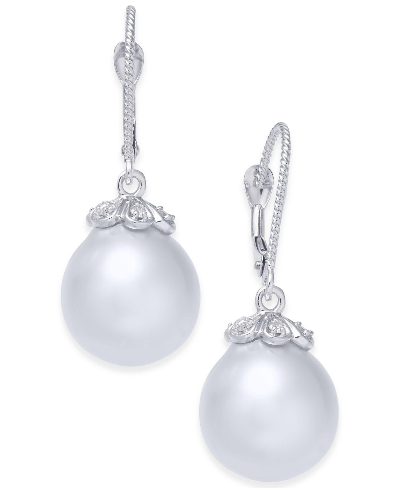 Belpearl 18k White South Sea Pearl & Diamond Flower Drop Earrings, 11.5mm