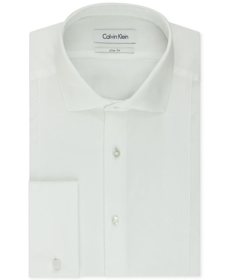 Calvin klein steel men 39 s slim fit french cuff tuxedo shirt White french cuff shirt slim fit